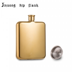 Shipping free 6OZ Luxury 14K golden plate hip flask