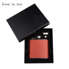 Shipping Free 6OZ  Red brown leather hip flask with funnel set ,Laserable Leatherette Flask