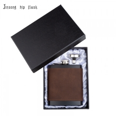 Shipping Free 7OZ  deep coffe  brown leather hip flask with funnel set ,Laserable Leatherette Flask