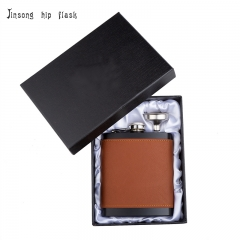 Shipping Free 7OZ   brown leather hip flask with funnel set ,Laserable Leatherette Flask