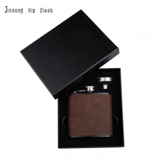 Shipping Free 6OZ coffe brown leather hip flask with funnel set ,Laserable Leatherette Flask