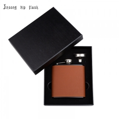 Shipping Free 6OZ brown leather hip flask with funnel set ,Laserable Leatherette Flask