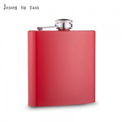 shipping free 6oz matt red  hip flask Laserable flask