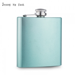 shipping free 6oz glittler  light blue  hip flask logo can be engraved