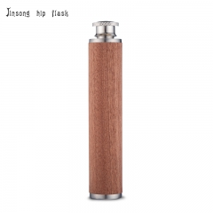 shipping free 2oz tube stainless steel flask with true wooden