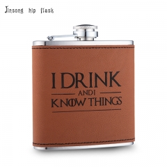 Shipping Free 6OZ Brown leather hip flask ,Laserable Leatherette Flask