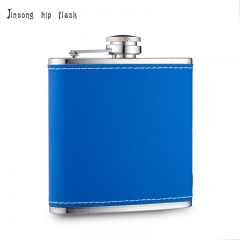 Shipping Free 6OZ blue leather hip flask ,Laserable Leatherette Flask