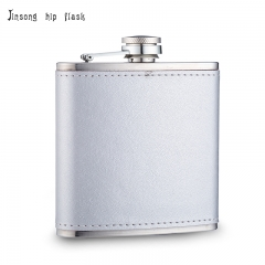 Shipping Free 6OZ Sliver leather hip flask ,Laserable Leatherette Flask