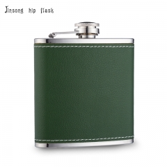 Shipping Free 6OZ Green leather hip flask ,Laserable Leatherette Flask