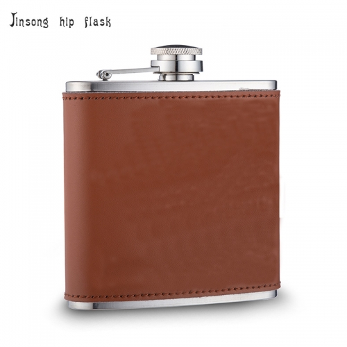 shipping free  6OZ Brown Real  leather hip flask ,Laserable Leatherette Flask
