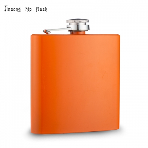 shipping free 6oz orange hip flask Laserable flask
