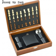 Shipping free 6 oz. Matte Black Laserable Stainless Steel Flask Set in Wood chess set  Presentation Box