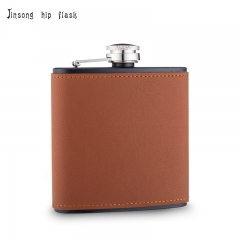 shipping free  6OZ BLACK Brown leather hip flask ,Laserable Leatherette Flask