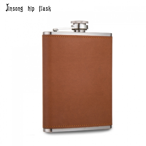 Shipping Free 8OZ Brown leather hip flask ,Laserable Leatherette Flask