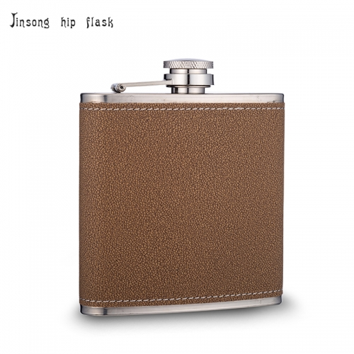 6OZ BROWN LEATHER  Laserable Leatherette Stainless Steel Flask
