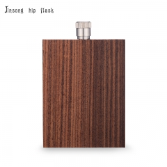 Shipping free 3oz true wooden stainless steel hip flask , classic quality