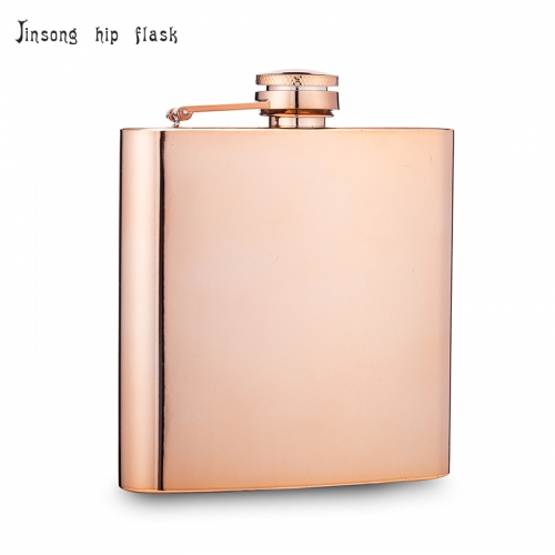 Shipping free 6oz Rose Golden plate  stainless steel hip flask