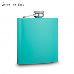 shipping free 6oz Powder coated Teal hip flask
