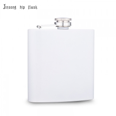 shipping free 6oz white  hip flask Laserable flask