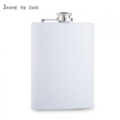 shipping free 8oz white  hip flask Laserable flask